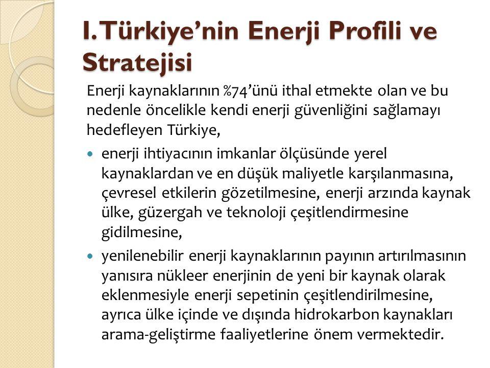 I. Türkiye'nin Enerji Profili ve Stratejisi Enerji kaynaklarının %74'ünü ithal etmekte olan ve bu nedenle öncelikle kendi enerji güvenliğini sağlamayı