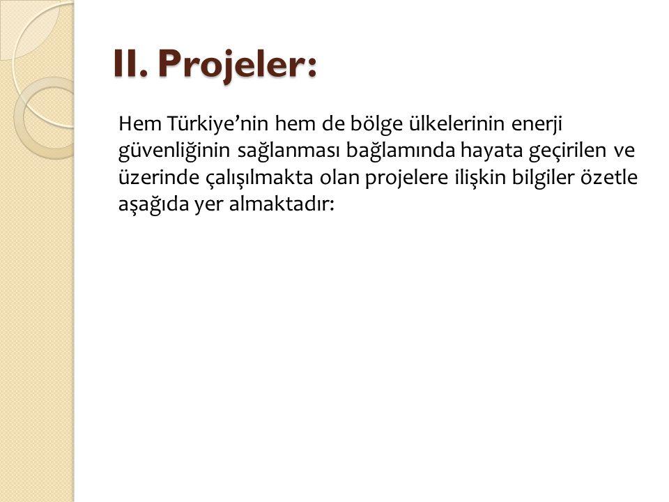 II. Projeler: Hem Türkiye'nin hem de bölge ülkelerinin enerji güvenliğinin sağlanması bağlamında hayata geçirilen ve üzerinde çalışılmakta olan projel