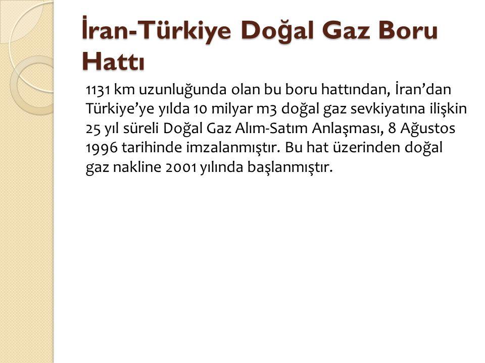 İ ran-Türkiye Do ğ al Gaz Boru Hattı 1131 km uzunluğunda olan bu boru hattından, İran'dan Türkiye'ye yılda 10 milyar m3 doğal gaz sevkiyatına ilişkin