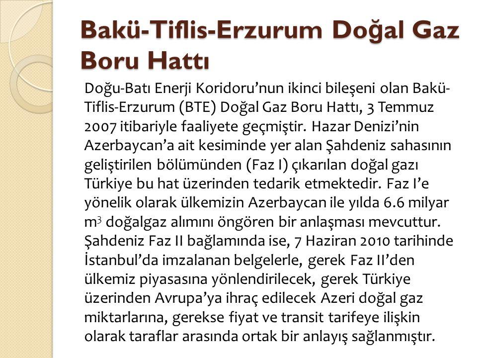 Bakü-Tiflis-Erzurum Do ğ al Gaz Boru Hattı Doğu-Batı Enerji Koridoru'nun ikinci bileşeni olan Bakü- Tiflis-Erzurum (BTE) Doğal Gaz Boru Hattı, 3 Temmu