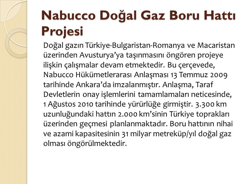 Nabucco Do ğ al Gaz Boru Hattı Projesi Doğal gazın Türkiye-Bulgaristan-Romanya ve Macaristan üzerinden Avusturya'ya taşınmasını öngören projeye ilişki