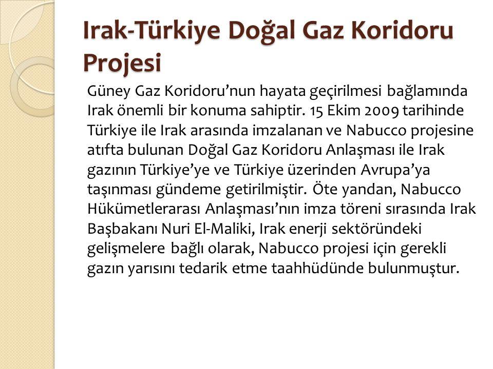 Irak-Türkiye Doğal Gaz Koridoru Projesi Güney Gaz Koridoru'nun hayata geçirilmesi bağlamında Irak önemli bir konuma sahiptir. 15 Ekim 2009 tarihinde T