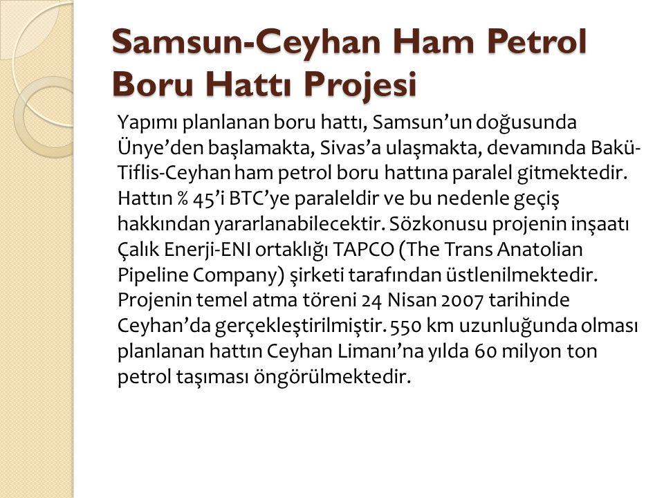 Samsun-Ceyhan Ham Petrol Boru Hattı Projesi Yapımı planlanan boru hattı, Samsun'un doğusunda Ünye'den başlamakta, Sivas'a ulaşmakta, devamında Bakü- T
