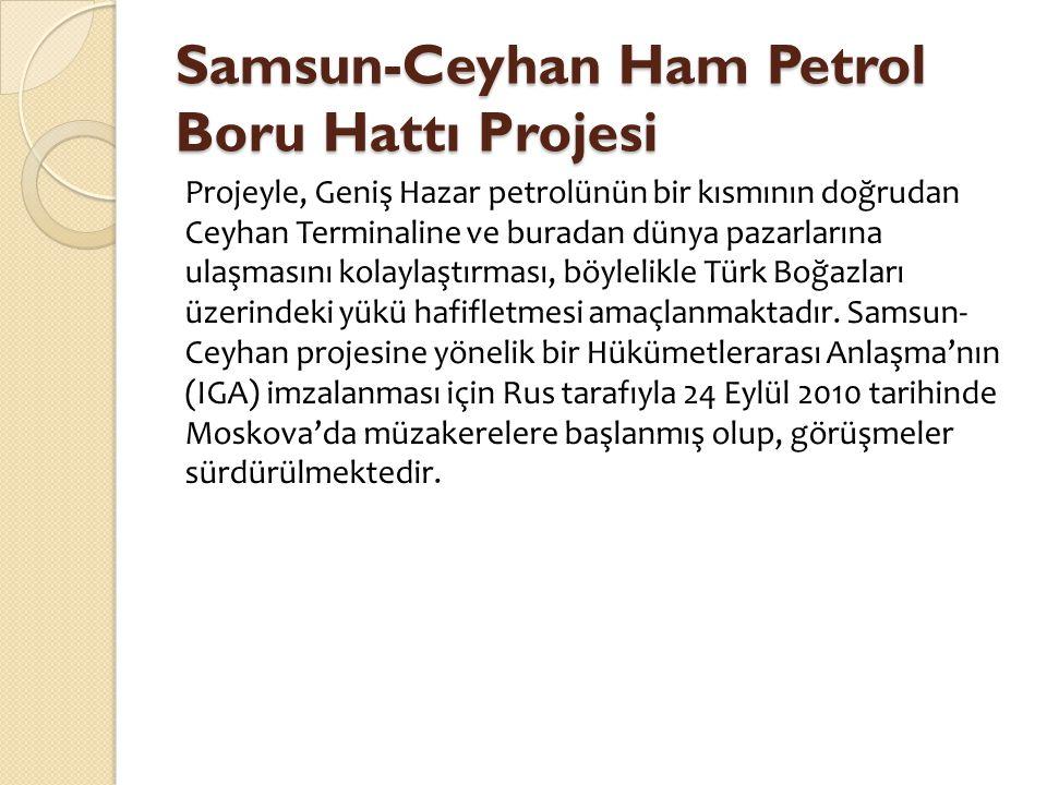 Samsun-Ceyhan Ham Petrol Boru Hattı Projesi Projeyle, Geniş Hazar petrolünün bir kısmının doğrudan Ceyhan Terminaline ve buradan dünya pazarlarına ula