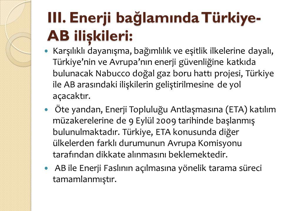 III. Enerji ba ğ lamında Türkiye- AB ilişkileri:  Karşılıklı dayanışma, bağımlılık ve eşitlik ilkelerine dayalı, Türkiye'nin ve Avrupa'nın enerji güv