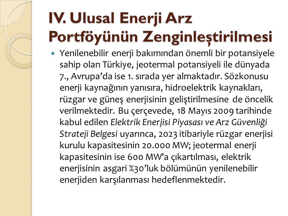 IV. Ulusal Enerji Arz Portföyünün Zenginleştirilmesi  Yenilenebilir enerji bakımından önemli bir potansiyele sahip olan Türkiye, jeotermal potansiyel