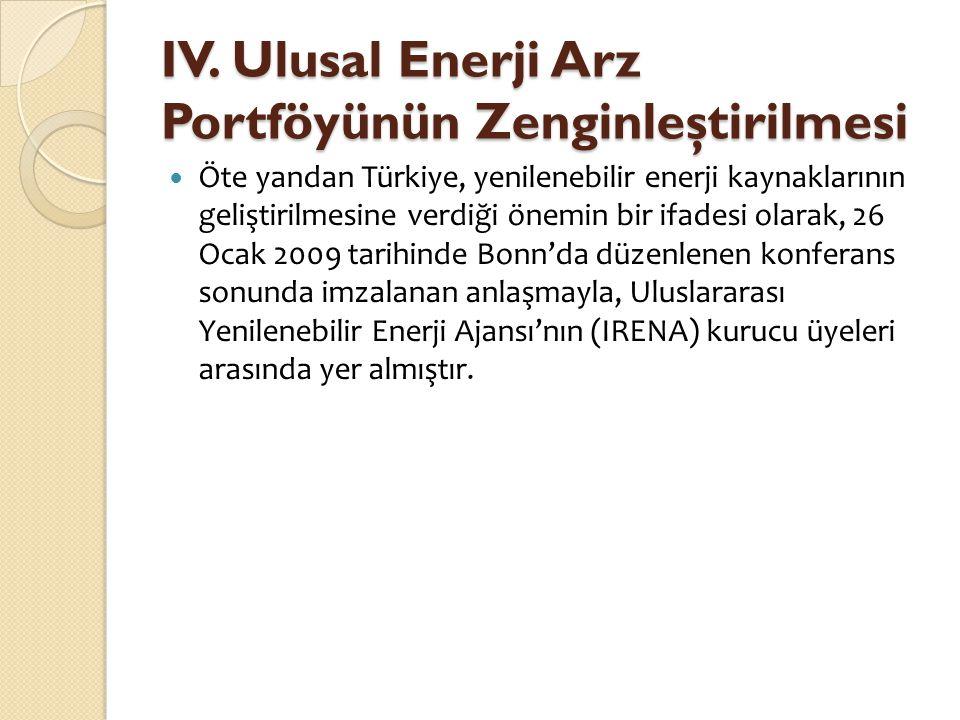 IV. Ulusal Enerji Arz Portföyünün Zenginleştirilmesi  Öte yandan Türkiye, yenilenebilir enerji kaynaklarının geliştirilmesine verdiği önemin bir ifad