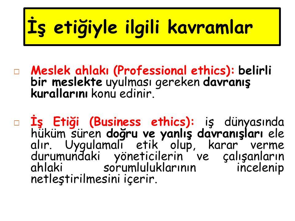 İş etiğiyle ilgili kavramlar  Meslek ahlakı (Professional ethics): belirli bir meslekte uyulması gereken davranış kurallarını konu edinir.  İş Etiği