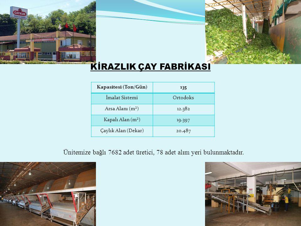Melyat Çay Fabrikası Kapasitesi (Ton / Gün)150 İmalat SistemiOrtodoks Arsa Alanı (m²) 31.385 Kapalı Alan (m²)20.508 Çaylık Alan (Dekar)21.951 Ünitemize bağlı 7329 adet üretici, 76 adet alım yeri bulunmaktadır.