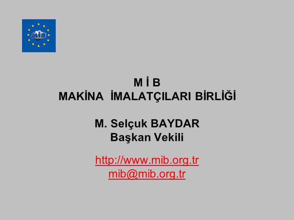 M İ B MAKİNA İMALATÇILARI BİRLİĞİ M. Selçuk BAYDAR Başkan Vekili http://www.mib.org.tr mib@mib.org.tr
