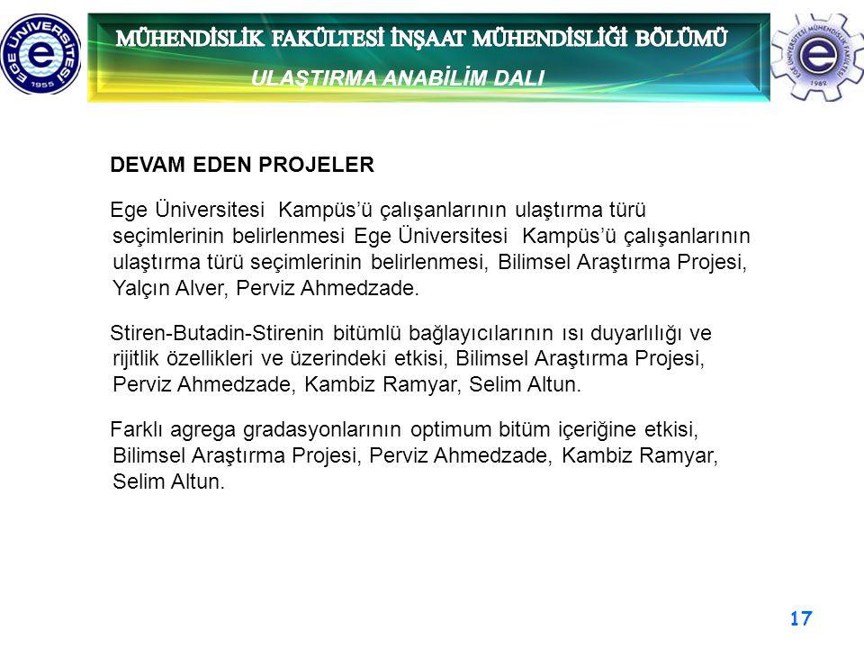 17 ULAŞTIRMA ANABİLİM DALI DEVAM EDEN PROJELER Ege Üniversitesi Kampüs'ü çalışanlarının ulaştırma türü seçimlerinin belirlenmesi Ege Üniversitesi Kamp