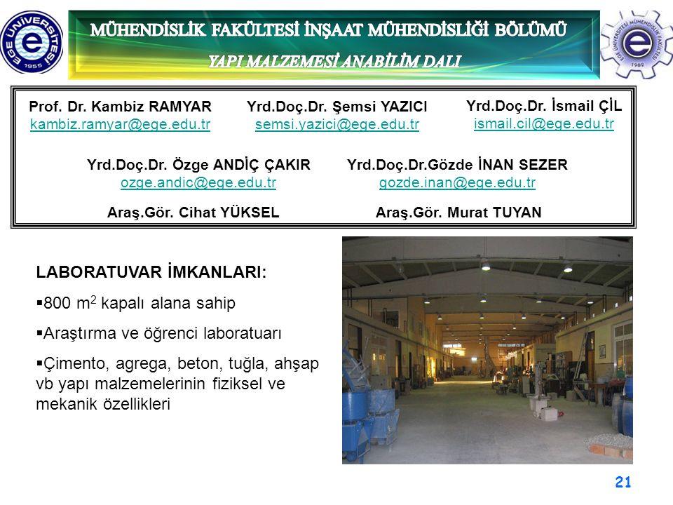 21 Prof. Dr. Kambiz RAMYAR kambiz.ramyar@ege.edu.tr Yrd.Doç.Dr. Şemsi YAZICI semsi.yazici@ege.edu.tr Yrd.Doç.Dr. Özge ANDİÇ ÇAKIR ozge.andic@ege.edu.t