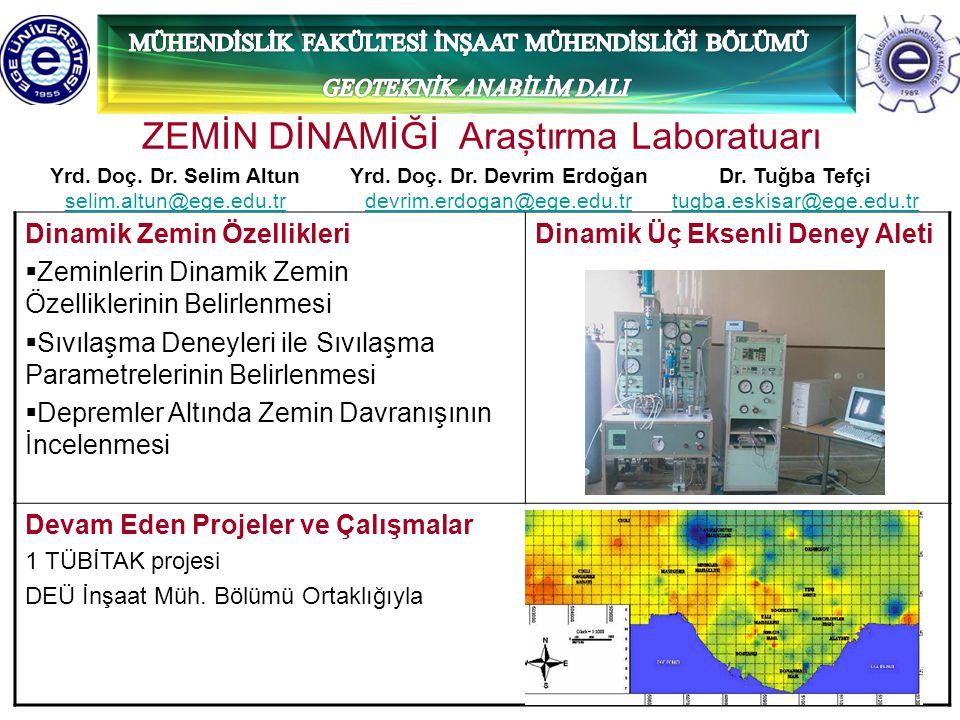 6 ZEMİN DİNAMİĞİ Araştırma Laboratuarı Dinamik Zemin Özellikleri  Zeminlerin Dinamik Zemin Özelliklerinin Belirlenmesi  Sıvılaşma Deneyleri ile Sıvı