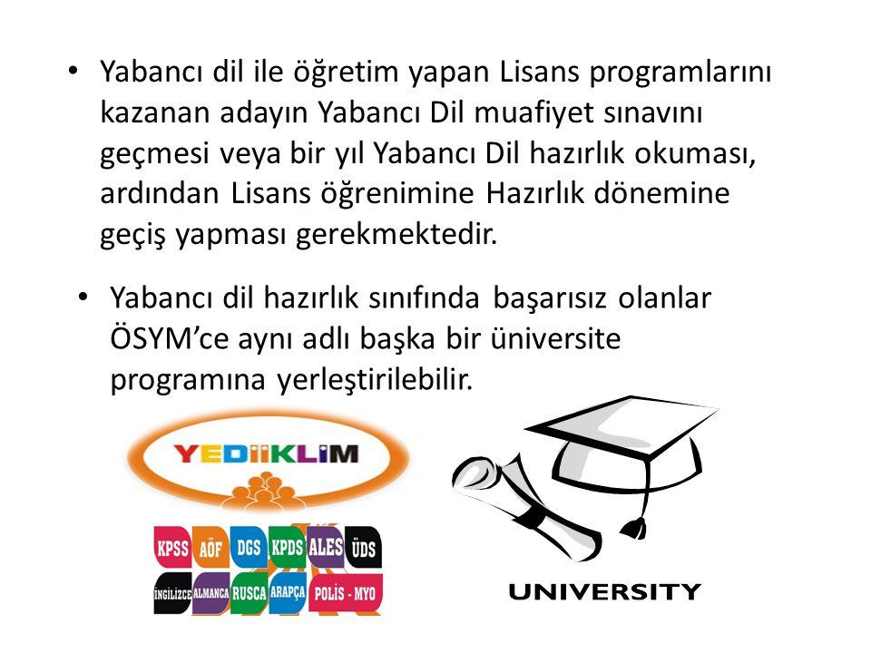 • Yabancı dil ile öğretim yapan Lisans programlarını kazanan adayın Yabancı Dil muafiyet sınavını geçmesi veya bir yıl Yabancı Dil hazırlık okuması, a