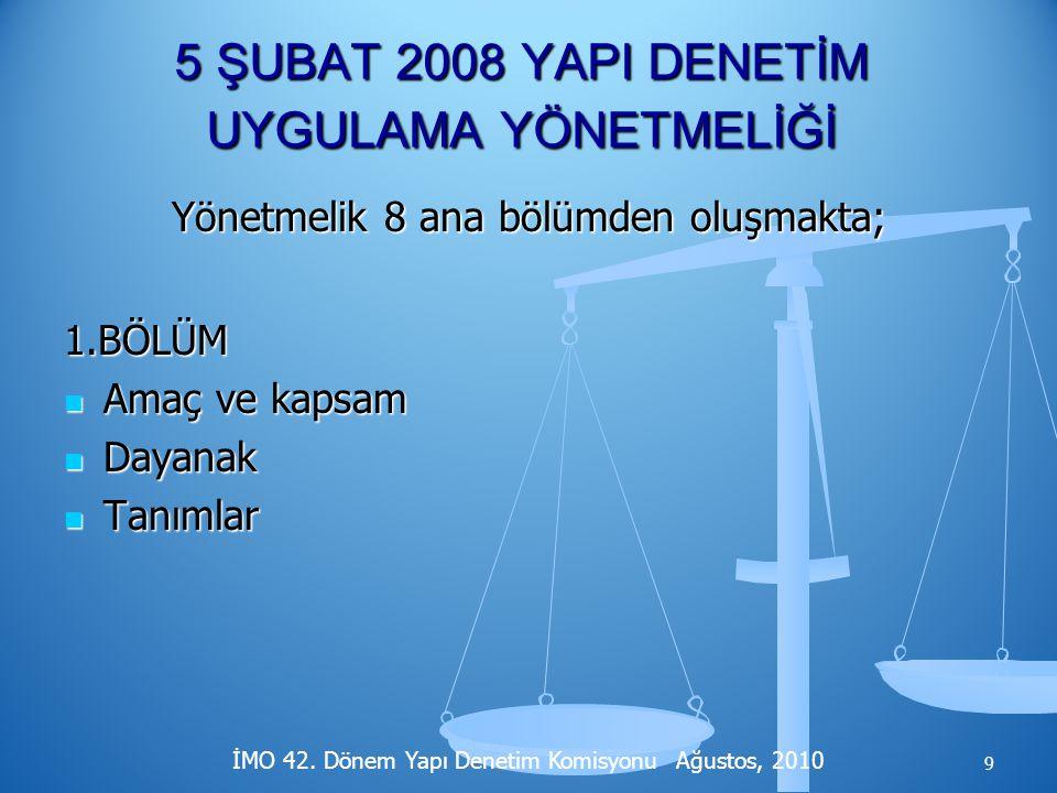 Dikkatiniz İçin Teşekkürler. İMO 42. Dönem Yapı Denetim Komisyonu Ağustos, 2010 40
