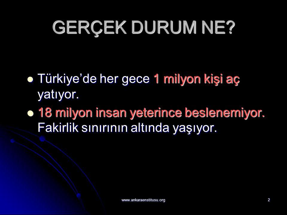 2 GERÇEK DURUM NE?  Türkiye'de her gece 1 milyon kişi aç yatıyor.  18 milyon insan yeterince beslenemiyor. Fakirlik sınırının altında yaşıyor.