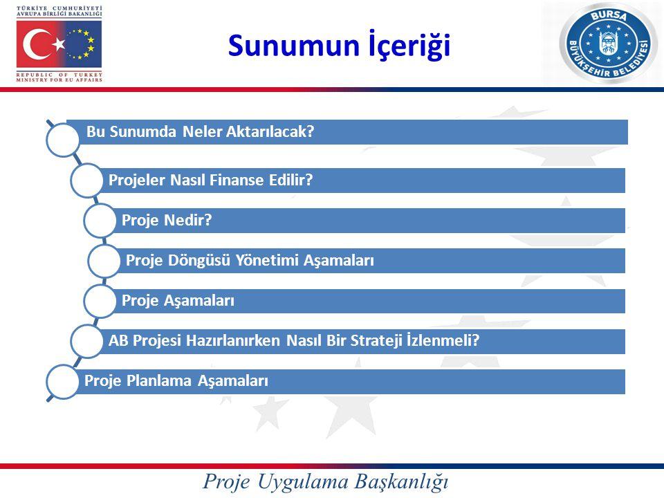 Proje Uygulama Başkanlığı Finansman Arayanlar Kuruluşlar ve Proje Döngüsü Yönetimi Örnek 2 Örnek 3