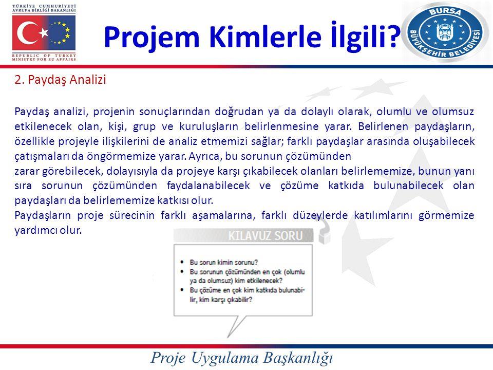 Proje Uygulama Başkanlığı Projem Kimlerle İlgili? 2. Paydaş Analizi Paydaş analizi, projenin sonuçlarından doğrudan ya da dolaylı olarak, olumlu ve ol