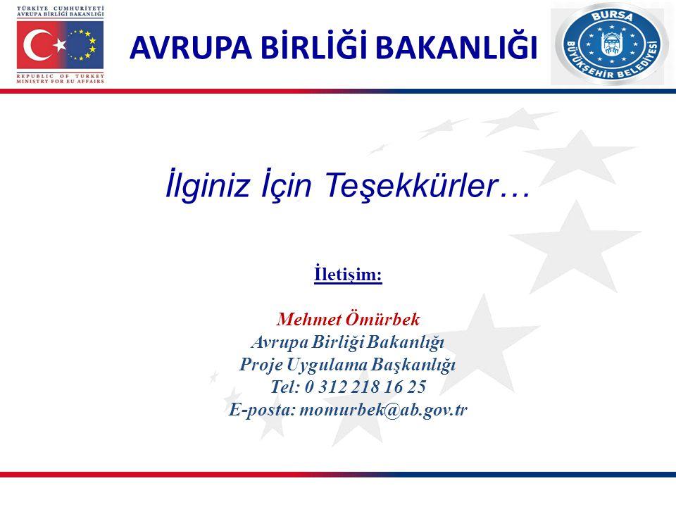 AVRUPA BİRLİĞİ BAKANLIĞI İletişim: Mehmet Ömürbek Avrupa Birliği Bakanlığı Proje Uygulama Başkanlığı Tel: 0 312 218 16 25 E-posta: momurbek@ab.gov.tr