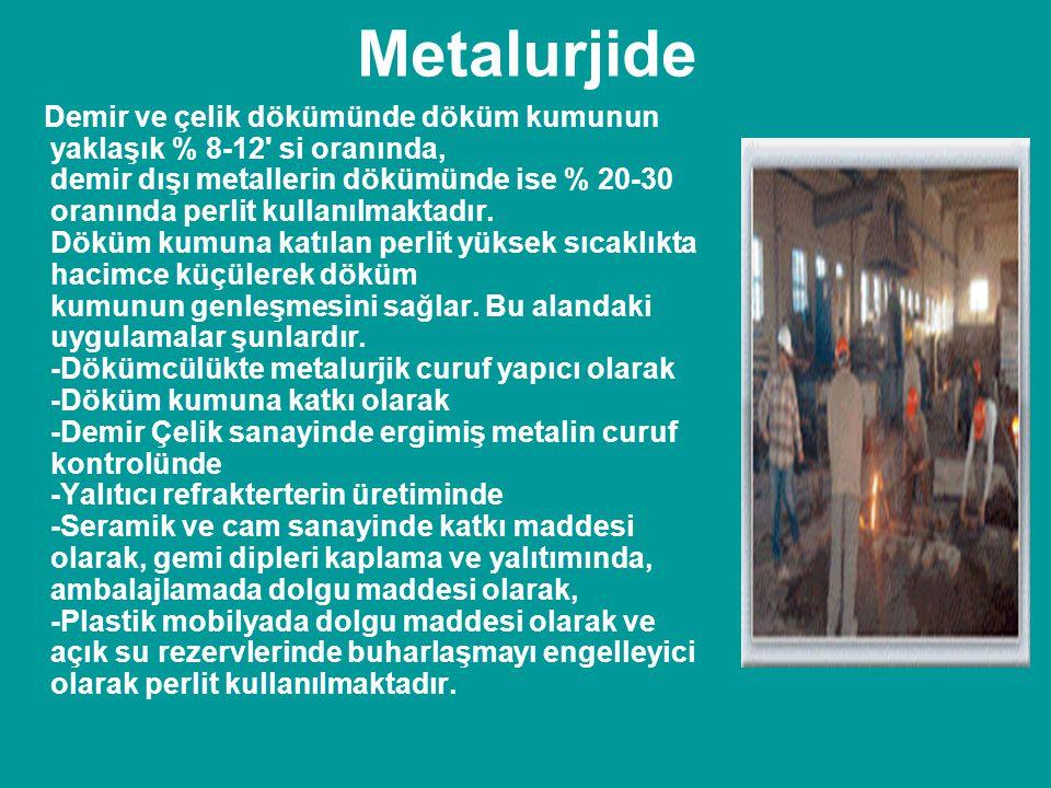 Metalurjide Demir ve çelik dökümünde döküm kumunun yaklaşık % 8-12' si oranında, demir dışı metallerin dökümünde ise % 20-30 oranında perlit kullanılm
