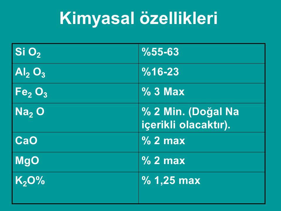 Kimyasal özellikleri Si O 2 %55-63 Al 2 O 3 %16-23 Fe 2 O 3 % 3 Max Na 2 O% 2 Min. (Doğal Na içerikli olacaktır). CaO% 2 max MgO% 2 max K 2 O% 1,25 ma