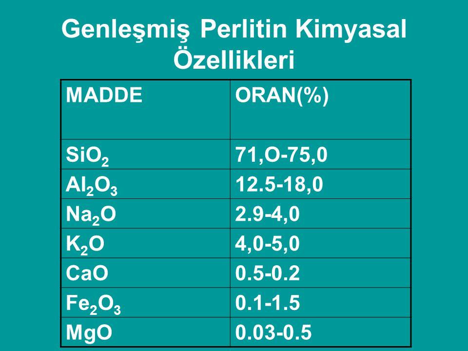 Genleşmiş Perlitin Kimyasal Özellikleri MADDEORAN(%) SiO 2 71,O-75,0 AI 2 O 3 12.5-18,0 Na 2 O2.9-4,0 K2OK2O4,0-5,0 CaO0.5-0.2 Fe 2 O 3 0.1-1.5 MgO0.0