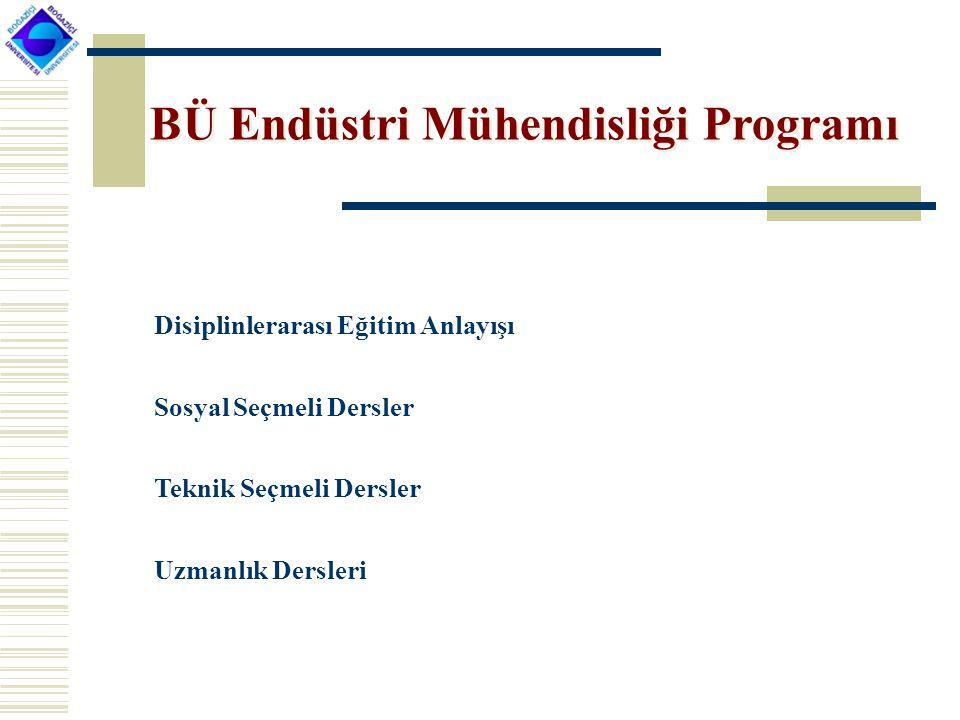 BÜ Endüstri Mühendisliği Programı Disiplinlerarası Eğitim Anlayışı Sosyal Seçmeli Dersler Teknik Seçmeli Dersler Uzmanlık Dersleri