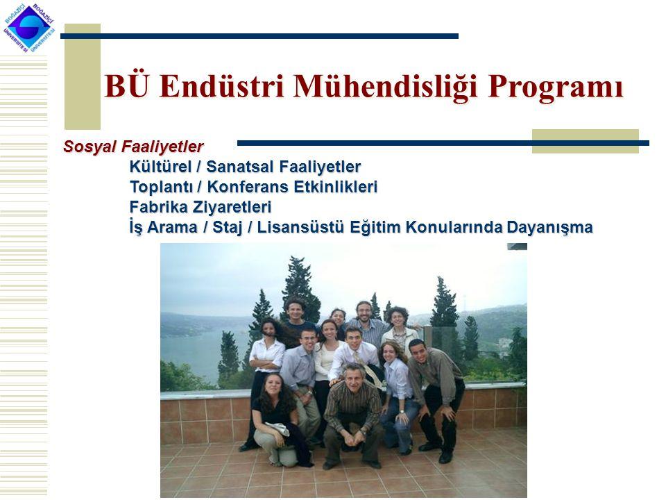 BÜ Endüstri Mühendisliği Programı Sosyal Faaliyetler Kültürel / Sanatsal Faaliyetler Toplantı / Konferans Etkinlikleri Fabrika Ziyaretleri İş Arama / Staj / Lisansüstü Eğitim Konularında Dayanışma