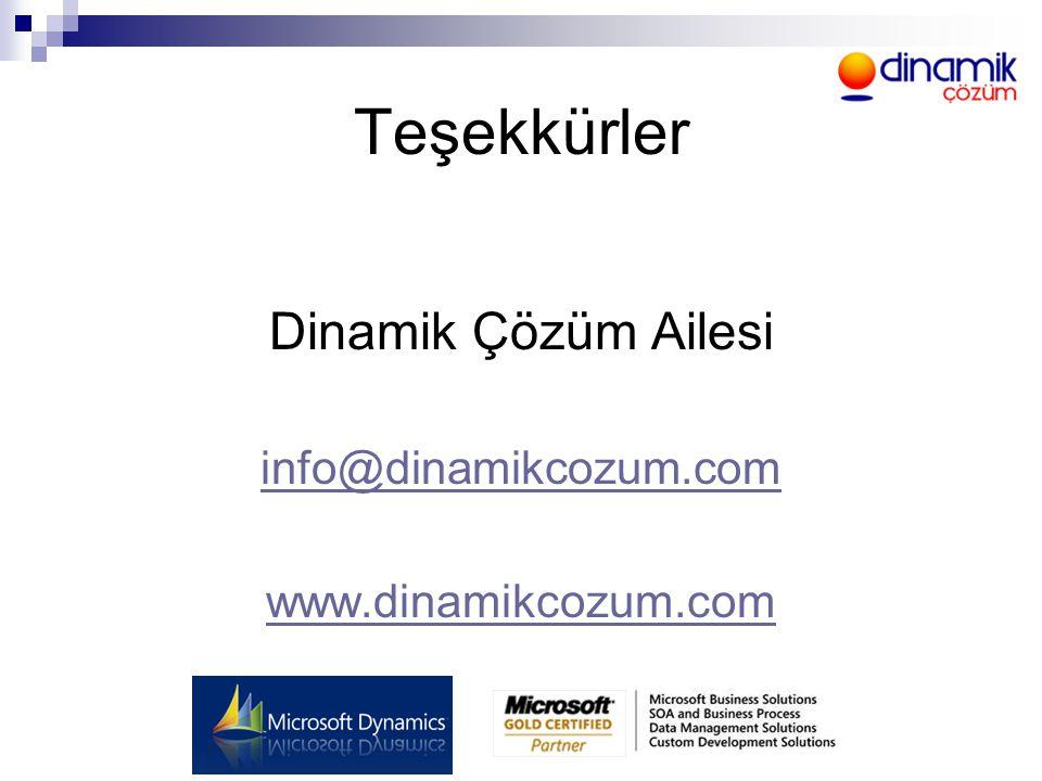 Teşekkürler Dinamik Çözüm Ailesi info@dinamikcozum.com www.dinamikcozum.com