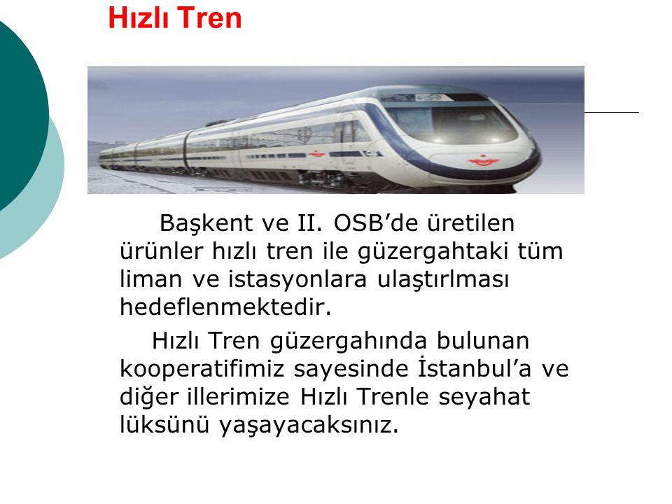 Hızlı Tren Başkent ve II. OSB'de üretilen ürünler hızlı tren ile güzergahtaki tüm liman ve istasyonlara ulaştırlması hedeflenmektedir. Hızlı Tren güze