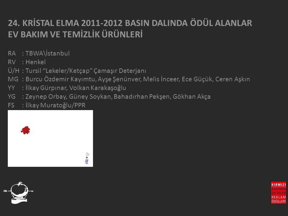 """24. KRİSTAL ELMA 2011-2012 BASIN DALINDA ÖDÜL ALANLAR EV BAKIM VE TEMİZLİK ÜRÜNLERİ RA : TBWA\İstanbul RV : Henkel Ü/H: Tursil """"Lekeler/Ketçap"""" Çamaşı"""