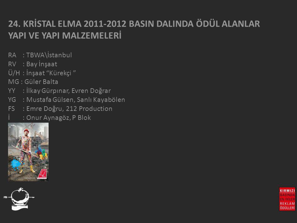 """24. KRİSTAL ELMA 2011-2012 BASIN DALINDA ÖDÜL ALANLAR YAPI VE YAPI MALZEMELERİ RA : TBWA\İstanbul RV : Bay İnşaat Ü/H: İnşaat """"Kürekçi """" MG : Güler Ba"""