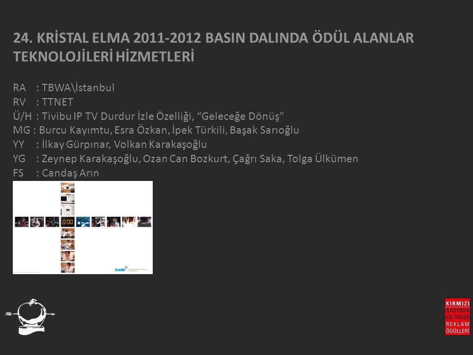 """24. KRİSTAL ELMA 2011-2012 BASIN DALINDA ÖDÜL ALANLAR TEKNOLOJİLERİ HİZMETLERİ RA : TBWA\İstanbul RV : TTNET Ü/H: Tivibu IP TV Durdur İzle Özelliği, """""""