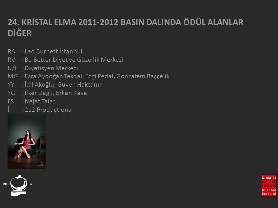 24. KRİSTAL ELMA 2011-2012 BASIN DALINDA ÖDÜL ALANLAR DİĞER RA : Leo Burnett İstanbul RV : Be Better Diyet ve Güzellik Merkezi Ü/H: Diyetisyen Merkezi