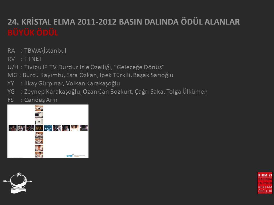 """24. KRİSTAL ELMA 2011-2012 BASIN DALINDA ÖDÜL ALANLAR BÜYÜK ÖDÜL RA : TBWA\İstanbul RV : TTNET Ü/H: Tivibu IP TV Durdur İzle Özelliği, """"Geleceğe Dönüş"""