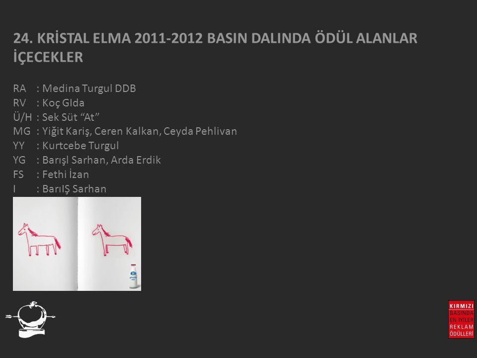 """24. KRİSTAL ELMA 2011-2012 BASIN DALINDA ÖDÜL ALANLAR İÇECEKLER RA : Medina Turgul DDB RV : Koç GIda Ü/H: Sek Süt """"At"""" MG : Yiğit Kariş, Ceren Kalkan,"""