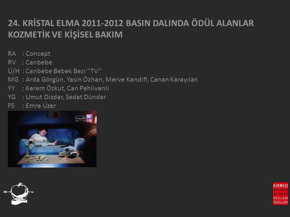 """24. KRİSTAL ELMA 2011-2012 BASIN DALINDA ÖDÜL ALANLAR KOZMETİK VE KİŞİSEL BAKIM RA : Concept RV : Canbebe Ü/H: Canbebe Bebek Bezi """"TV"""" MG : Arda Görgü"""