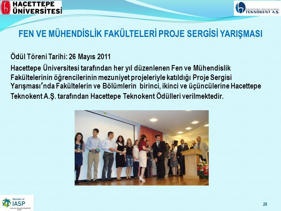 FEN VE MÜHENDİSLİK FAKÜLTELERİ PROJE SERGİSİ YARIŞMASI Ödül Töreni Tarihi: 26 Mayıs 2011 Hacettepe Üniversitesi tarafından her yıl düzenlenen Fen ve Mühendislik Fakültelerinin öğrencilerinin mezuniyet projeleriyle katıldığı Proje Sergisi Yarışması'nda Fakültelerin ve Bölümlerin birinci, ikinci ve üçüncülerine Hacettepe Teknokent A.Ş.