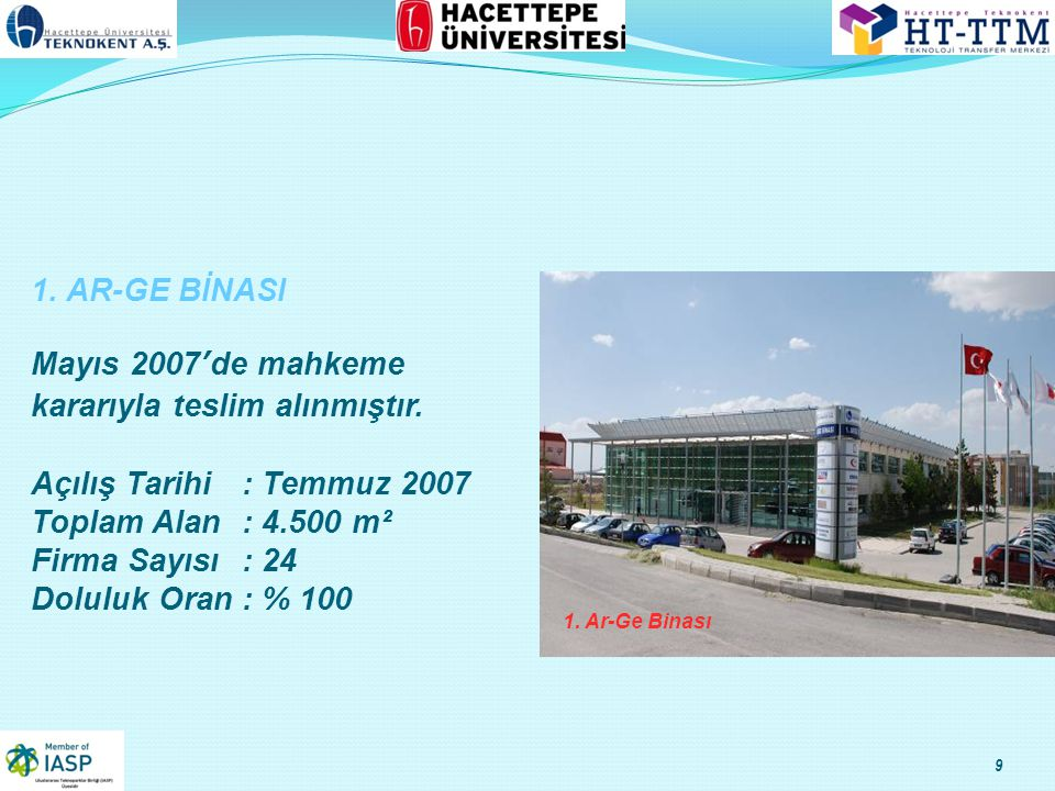 9 1.Ar-Ge Binası 1. AR-GE BİNASI Mayıs 2007'de mahkeme kararıyla teslim alınmıştır.