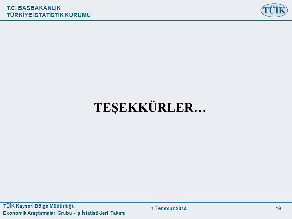 T.C. BAŞBAKANLIK TÜRKİYE İSTATİSTİK KURUMU TÜİK Kayseri Bölge Müdürlüğü Ekonomik Araştırmalar Grubu - İş İstatistikleri Takımı 1 Temmuz 2014 19 TEŞEKK