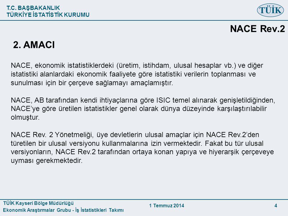 T.C. BAŞBAKANLIK TÜRKİYE İSTATİSTİK KURUMU TÜİK Kayseri Bölge Müdürlüğü Ekonomik Araştırmalar Grubu - İş İstatistikleri Takımı 1 Temmuz 2014 4 2. AMAC