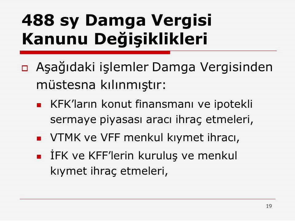 19 488 sy Damga Vergisi Kanunu Değişiklikleri  Aşağıdaki işlemler Damga Vergisinden müstesna kılınmıştır:  KFK'ların konut finansmanı ve ipotekli se
