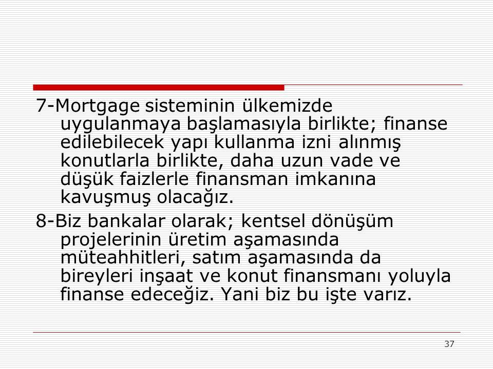 37 7-Mortgage sisteminin ülkemizde uygulanmaya başlamasıyla birlikte; finanse edilebilecek yapı kullanma izni alınmış konutlarla birlikte, daha uzun v