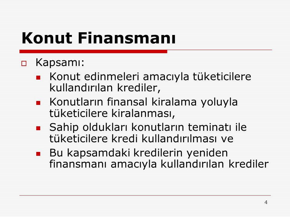 4 Konut Finansmanı  Kapsamı:  Konut edinmeleri amacıyla tüketicilere kullandırılan krediler,  Konutların finansal kiralama yoluyla tüketicilere kir