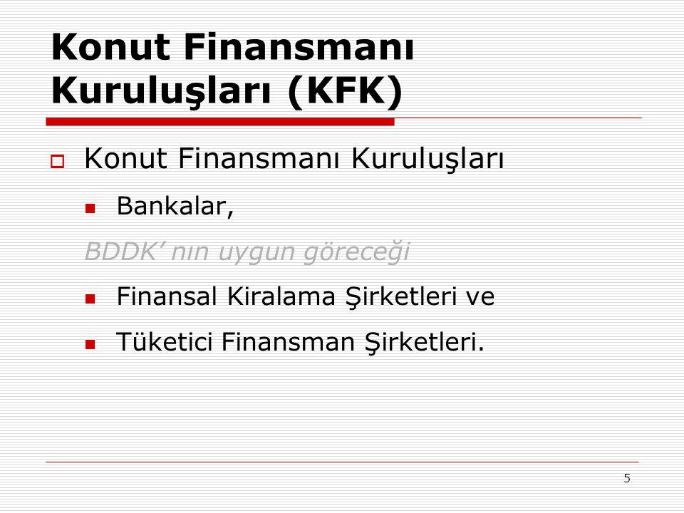 5 Konut Finansmanı Kuruluşları (KFK)  Konut Finansmanı Kuruluşları  Bankalar, BDDK' nın uygun göreceği  Finansal Kiralama Şirketleri ve  Tüketici