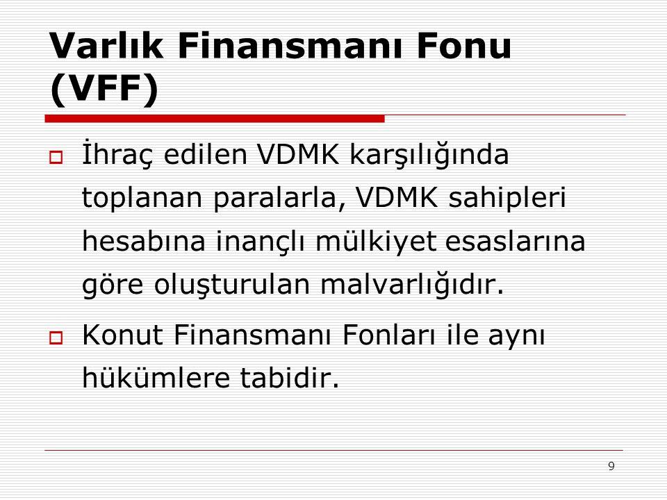 9 Varlık Finansmanı Fonu (VFF)  İhraç edilen VDMK karşılığında toplanan paralarla, VDMK sahipleri hesabına inançlı mülkiyet esaslarına göre oluşturul