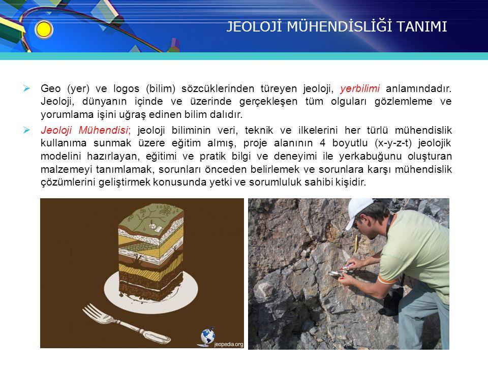 JEOLOJİ MÜHENDİSLİĞİ TANIMI  Geo (yer) ve logos (bilim) sözcüklerinden türeyen jeoloji, yerbilimi anlamındadır.