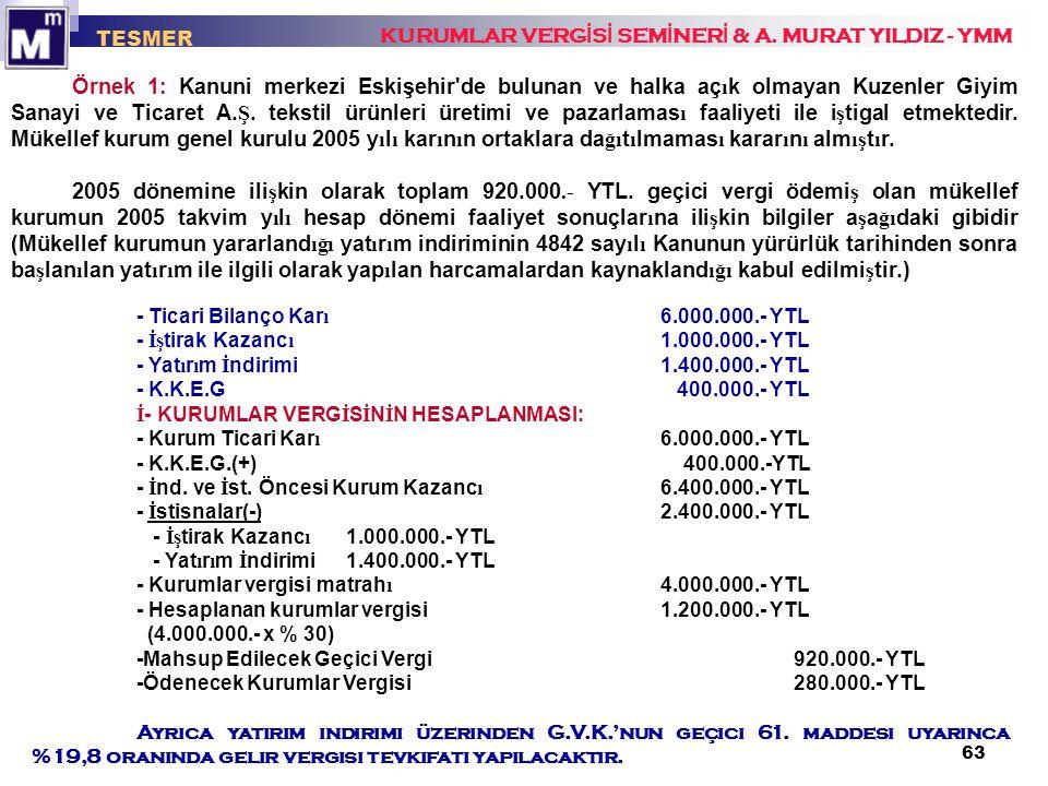 63 KURUMLAR VERG İ S İ SEM İ NER İ & A. MURAT YILDIZ - YMM TESMER Örnek 1: Kanuni merkezi Eskişehir'de bulunan ve halka aç ı k olmayan Kuzenler Giyim