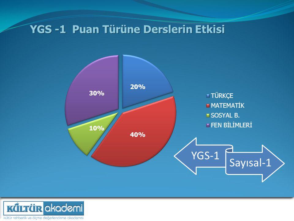 YGS -1 Puan Türüne Derslerin Etkisi YGS-1 Sayısal-1