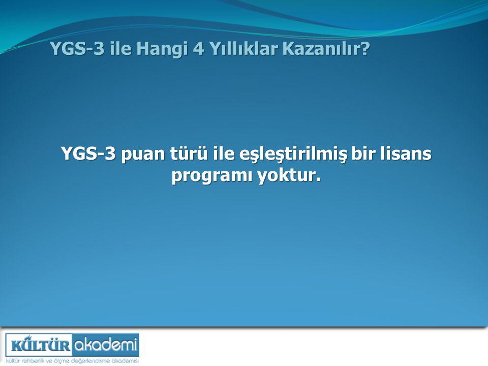 YGS-3 ile Hangi 4 Yıllıklar Kazanılır.